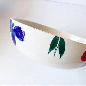Furio JewFlora Italian Blue Pink Flower Pasta Bowl